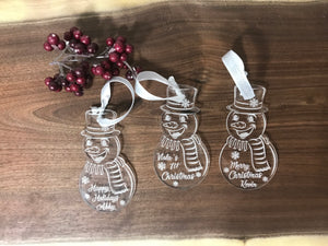 Personalized Ornament Snowman Ornament Acrylic Ornament Christmas Tree Ornament Laser Cut Ornament First Christmas Ornament