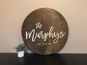 Personalized Round Family Name Sign