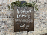 Unplugged Ceremony Personalized Wood Sign
