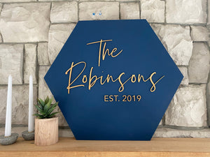 Personalized Hexagon Family Name Sign