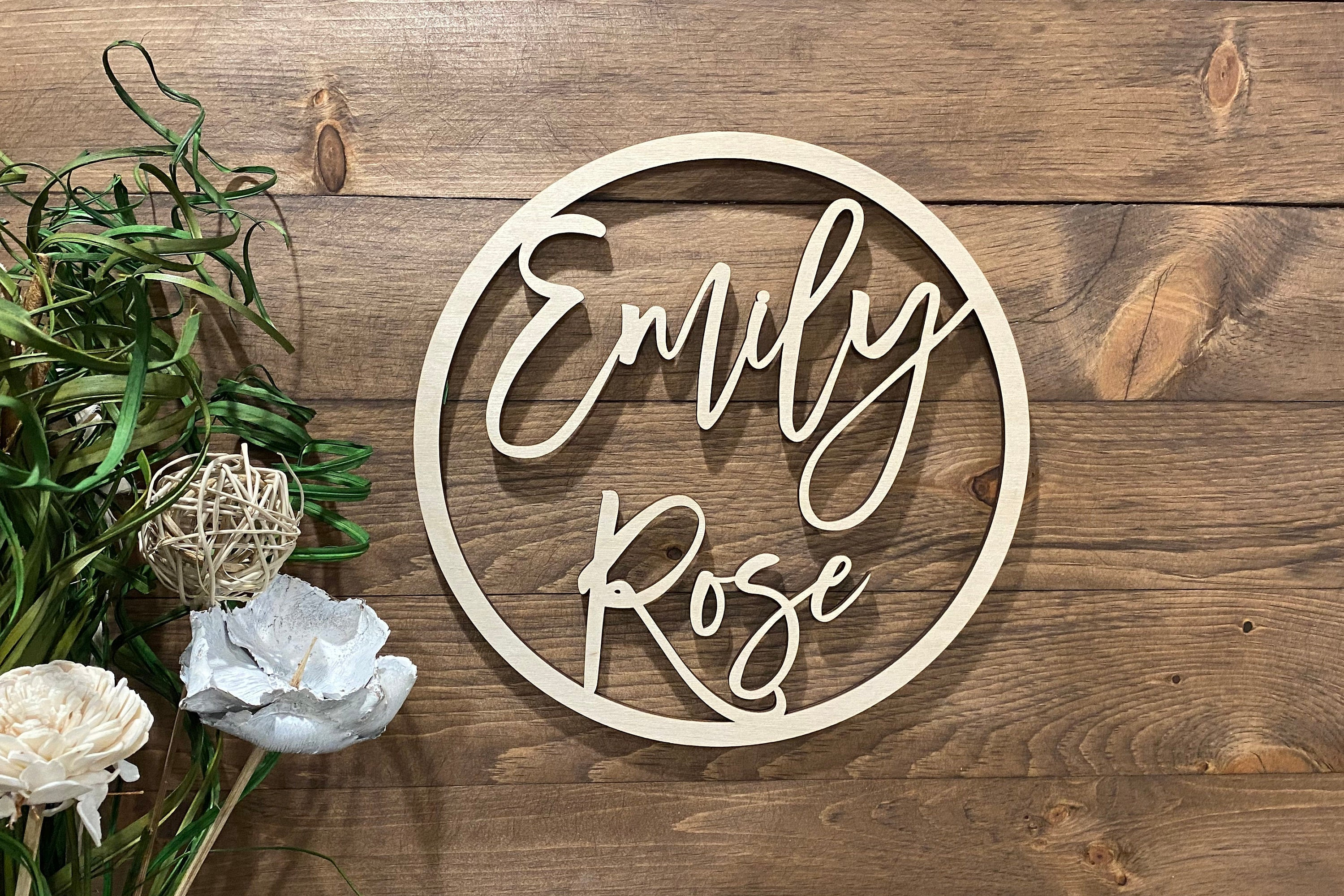 Round Baby Name Wood Cutout