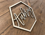 Geometric Baby Name Wood Cutout
