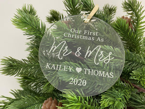 Our First Christmas as Mr. & Mrs. Ornament | Laser Engraved Personalized Acrylic Ornament | First Christmas Gift | 2020 WeddingGift