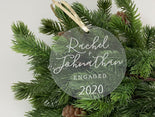 Engagement Christmas Ornament | Laser Engraved Personalized Acrylic Ornament | First Christmas Engaged Gift | 2020 Engagement Gift