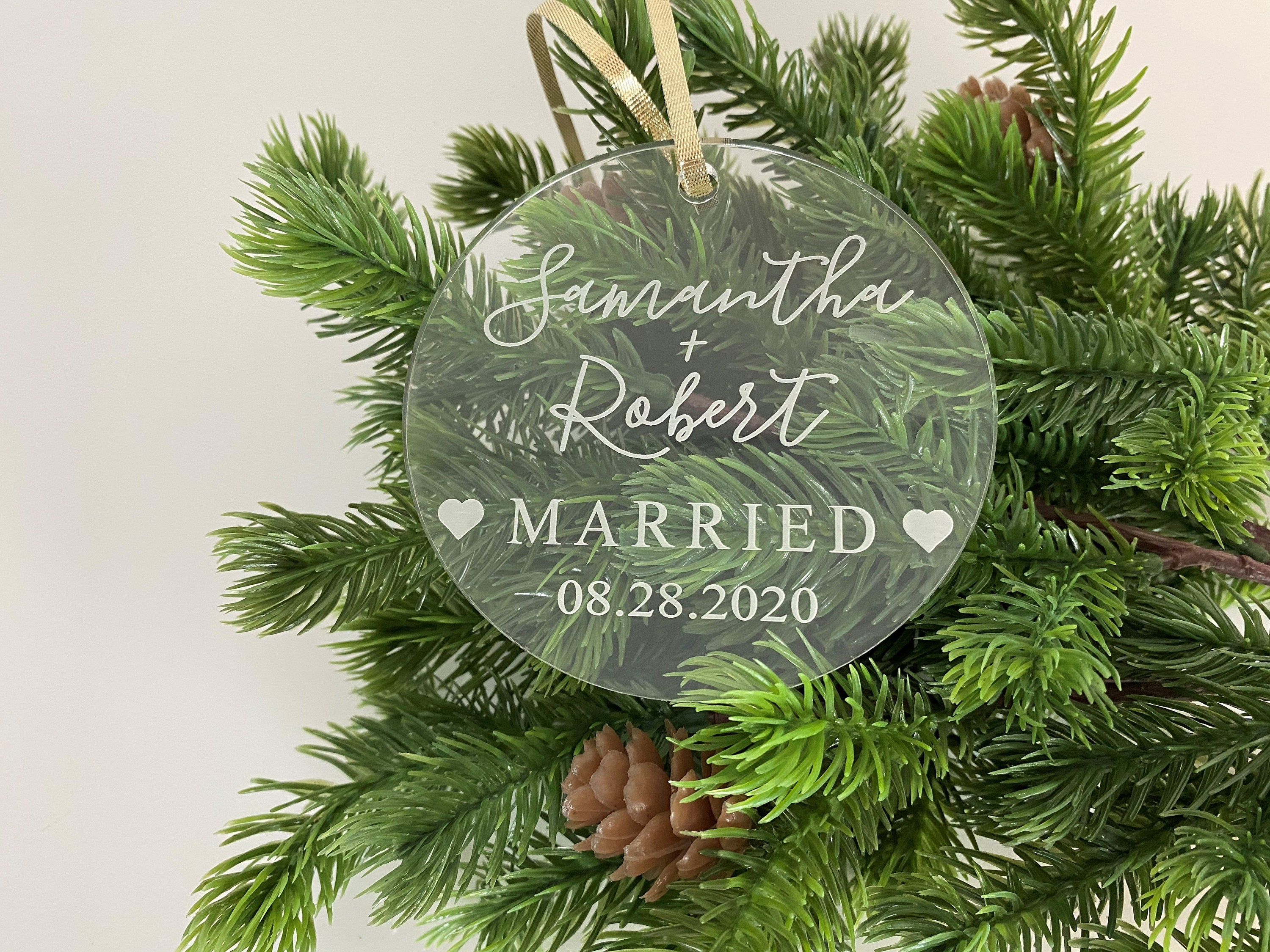 Wedding Christmas Ornament | Laser Engraved Personalized Acrylic Ornament | First Christmas Married Gift | 2020 Wedding Gift