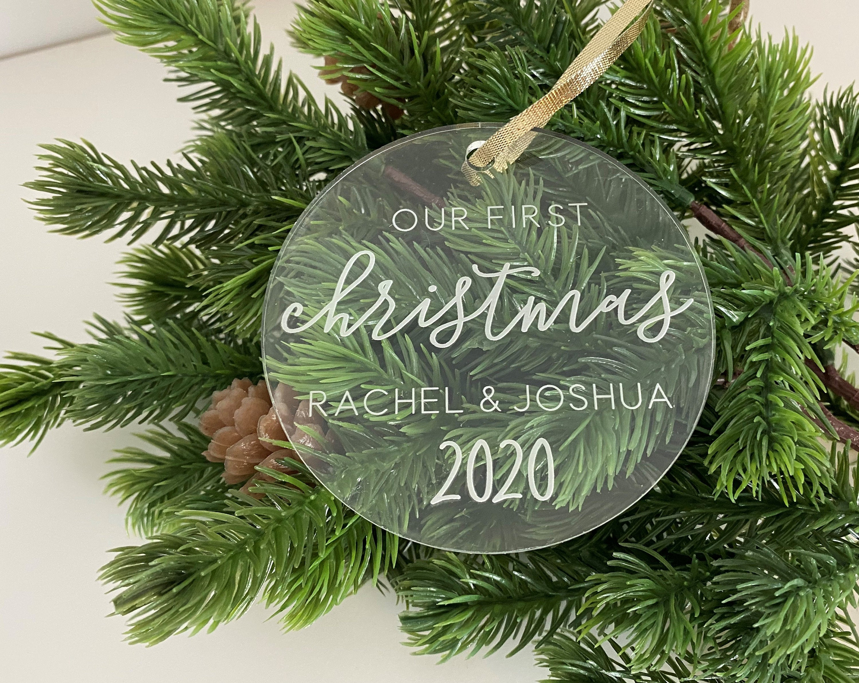 Our First Christmas Acrylic Ornament | Laser Engraved Personalized Ornament | First Christmas Gift | Wedding Gift | Newlywed Christmas Gift