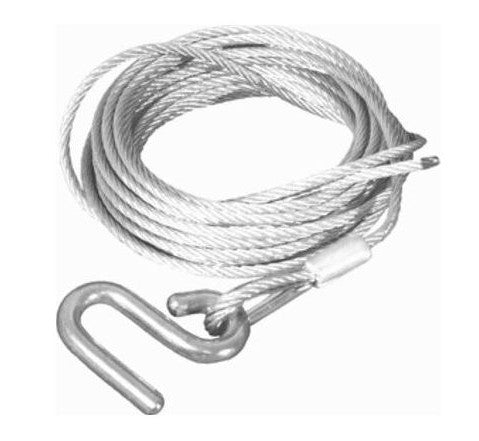 WINCH CABLE W S/S HOOK 6M X 5MM