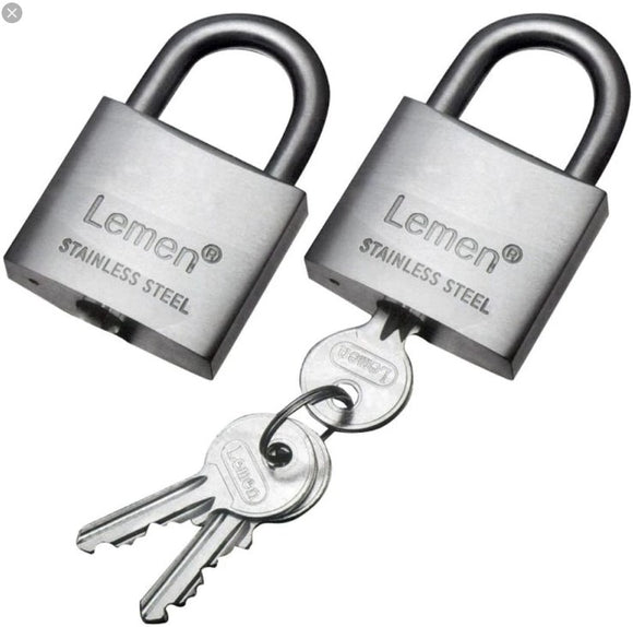 PADLOCK STAINLESS 2 X 30MM KEYED ALIKE