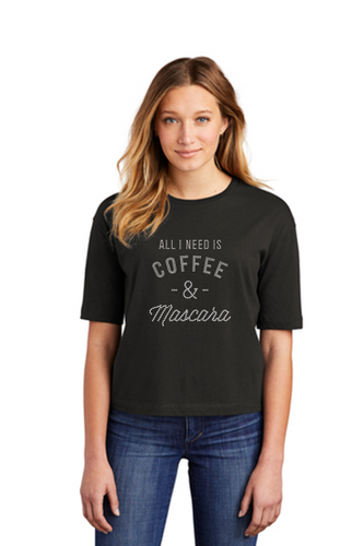 All I Need Is Coffee & Mascara Bling Ladies Boxy Tee