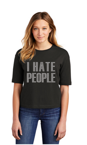 I Hate People Bling Ladies Boxy Tee