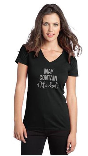 May Contain Alcohol Bling V Neck