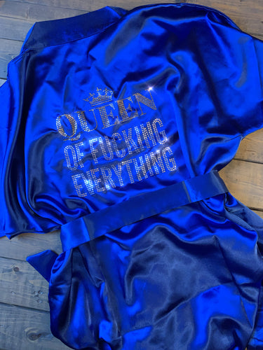 Queen Of F#cking Everything Bling Ladies Satin Shorty Robe