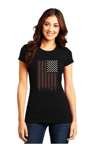 Ragged Old Flag Bling Ladies Fit Crew