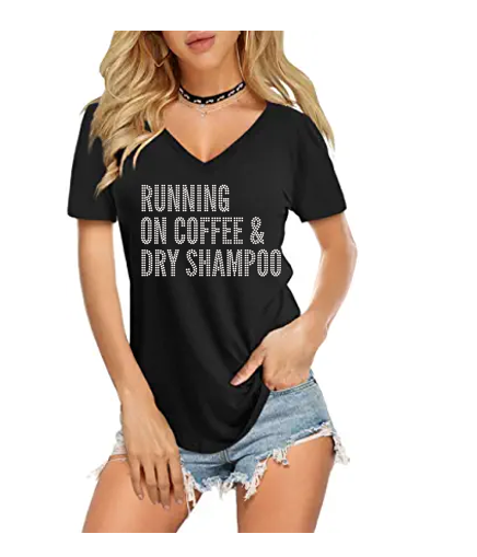 Running On Coffee & Dry Shampoo Ladies Bling V Neck