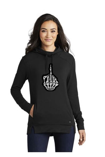 Skull Middle Finger Bling Pullover Fleece Luuma Hoodie