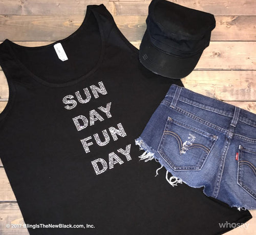 Sunday Funday Bling Loose Fit Tank
