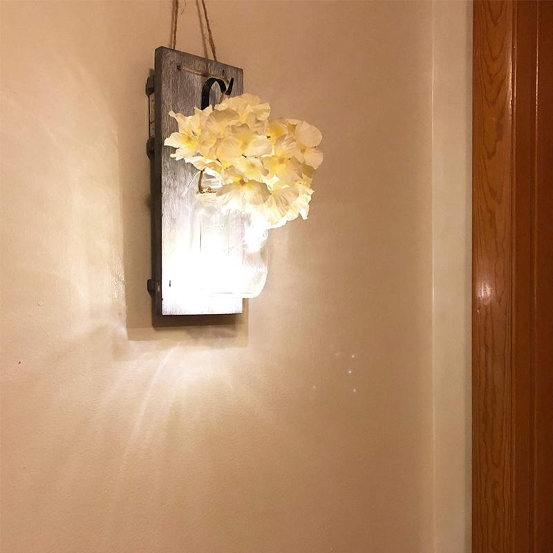 Mason Jars Rustic Wall Lamp With Silk Hydrangea