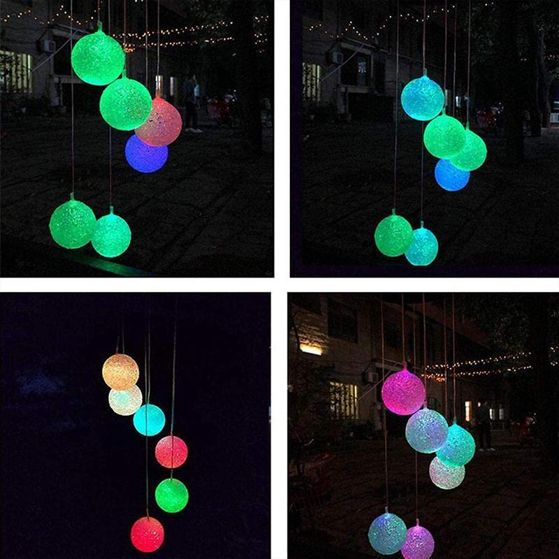 Outdoor Solar Powered Crystal Ball Light Wind Chime Lights