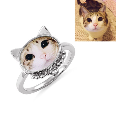 Personalized Cat Photo Ring Sterling Silver