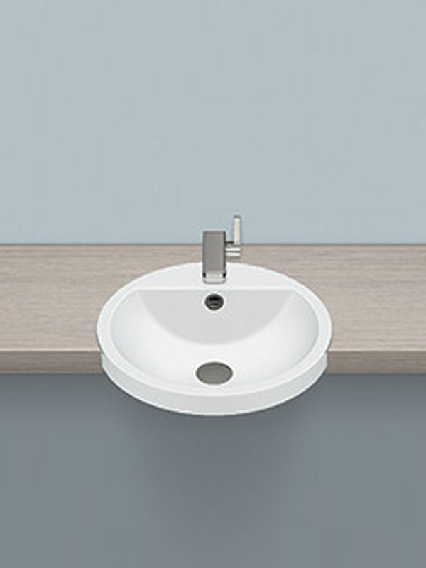 Semi-recessed washbasin, round
