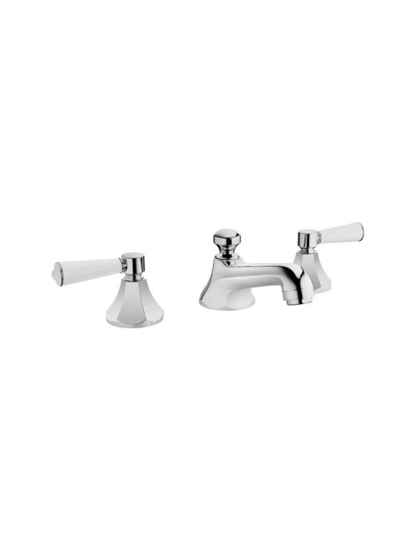 Three-hole basin mixer with pop-up waste