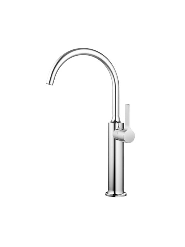 Single-lever basin mixer with raised base without pop-up waste