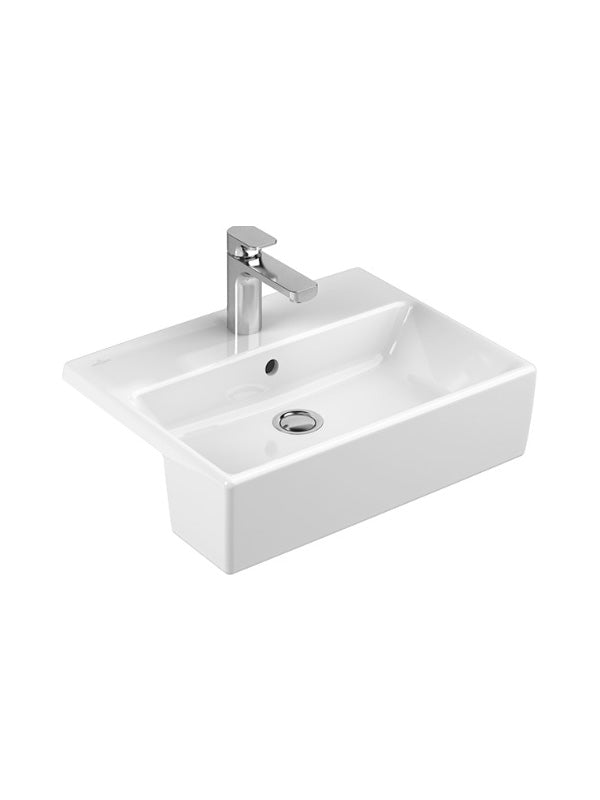 Semi-recessed washbasin, rectangle