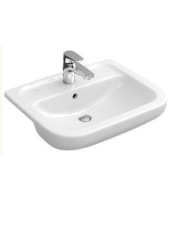 Semi-recessed washbasin, 550mm x 460mm