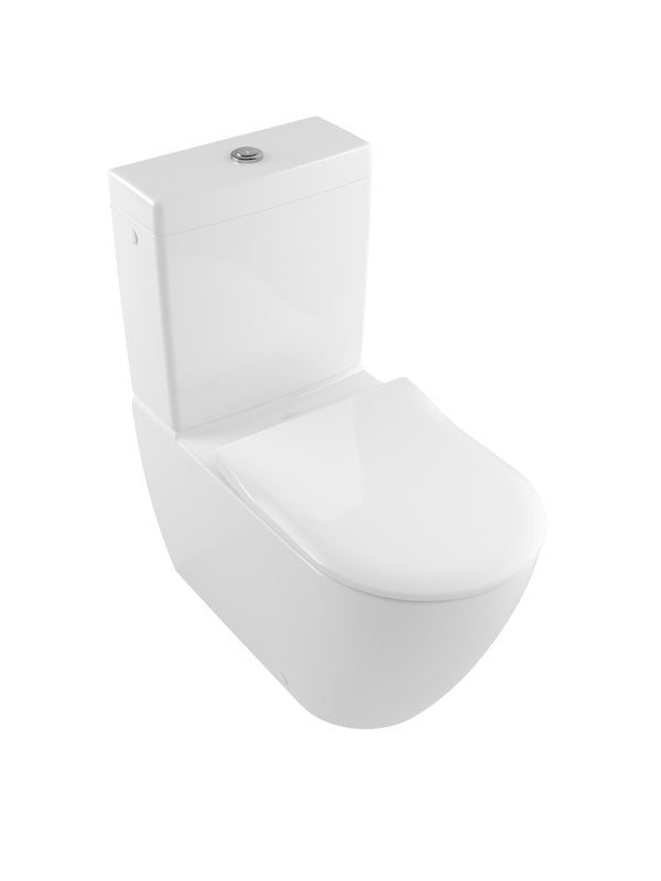 Washdown WC for close-coupled WC suite, rimless