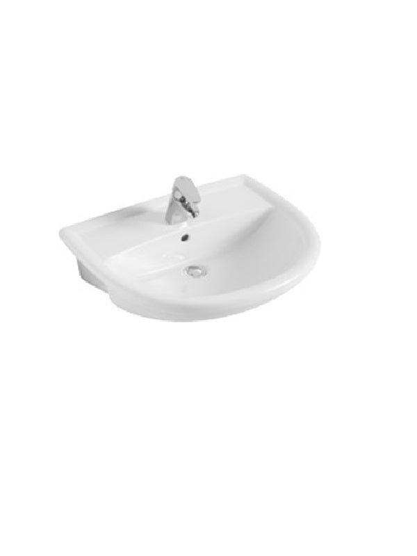 Semi-recessed washbasin, 550 x 440mm