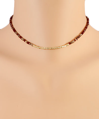 Burgundy Beaded Choker