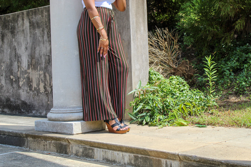 Olive Green Striped Pants