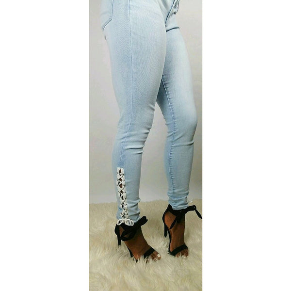 Mid Calf Lace Up Light Blue Jeans