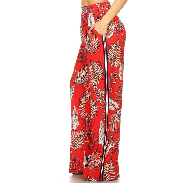 Red Leaf Print High Waist Pants