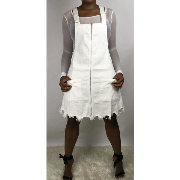 White Zipper Overall Dress