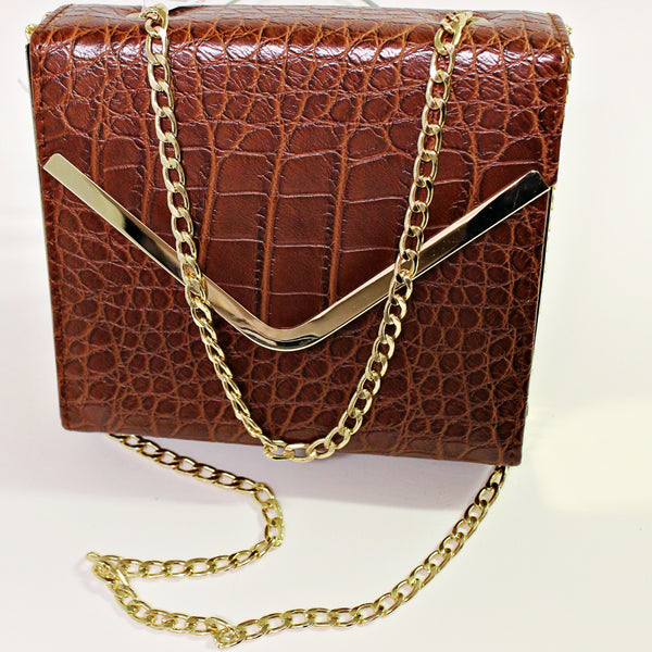 Reptile Leather Box Crossbody
