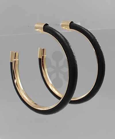Leather Trim Hoops