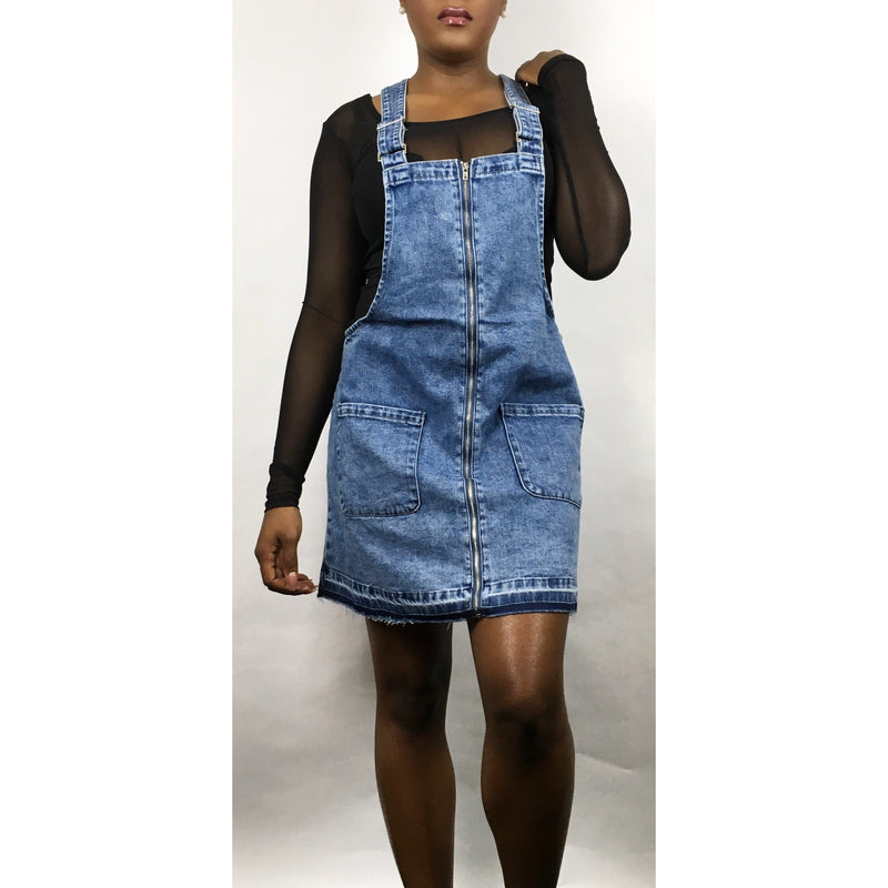 Denim Zip Up Overall Dress