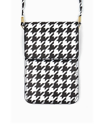 Houndstooth Clear Panel Cellphone Crossbody