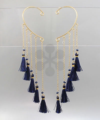 Navy Blue Tassel Ear Cuff