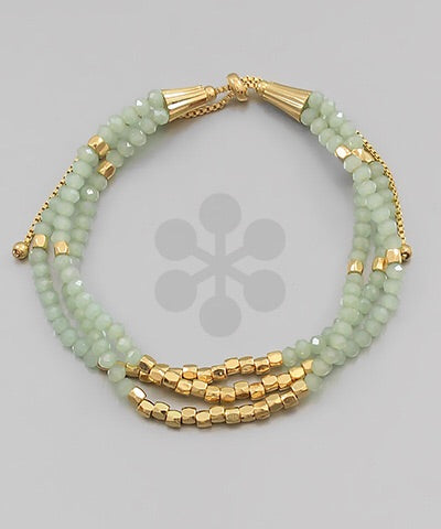 Mint/Gold Beaded Bracelets
