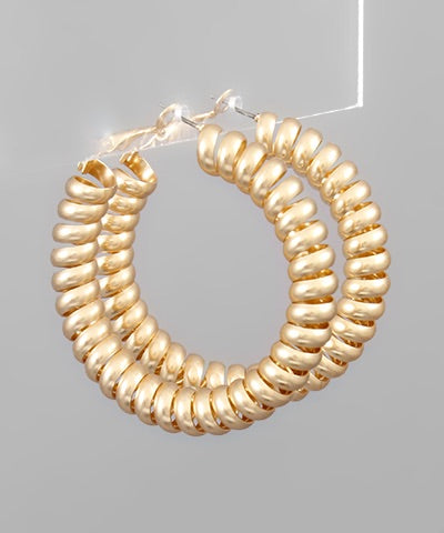 Shiny Gold Coil Hoops
