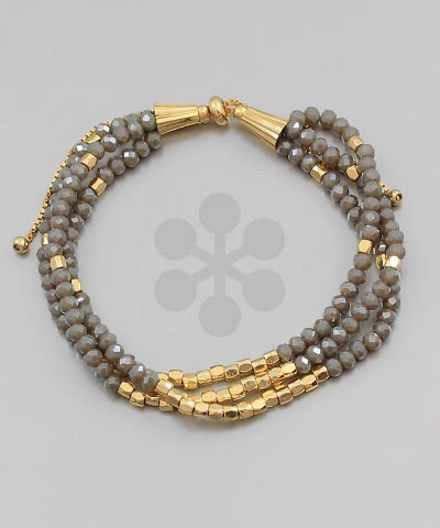 Grey/Gold Beaded Bracelets