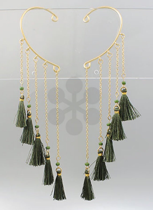 Olive Green Tassel Ear Cuff