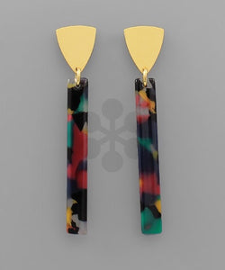 Multi Color Bar & Cone Earrings