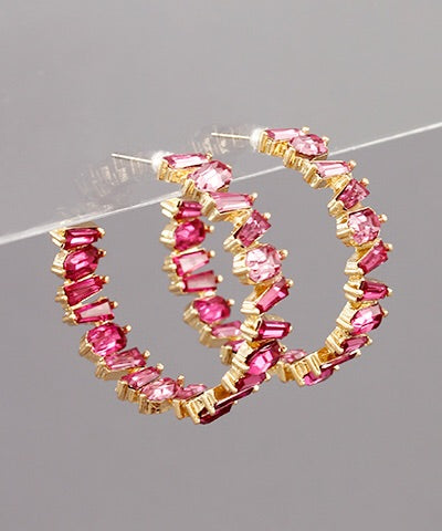 Fuchsia Crystal Hoops