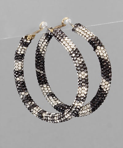 White Leopard Crystal Earrings