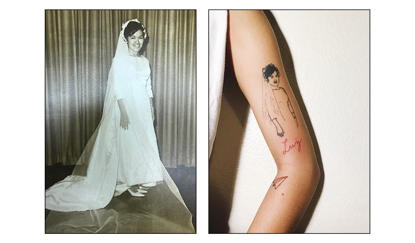 Leticia's wedding portrait and Syd's tattoo of it