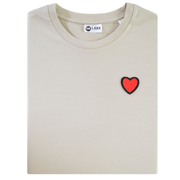 LFF Lake Fair Fashion beige fair wear fair trade t-shirt met hart patch
