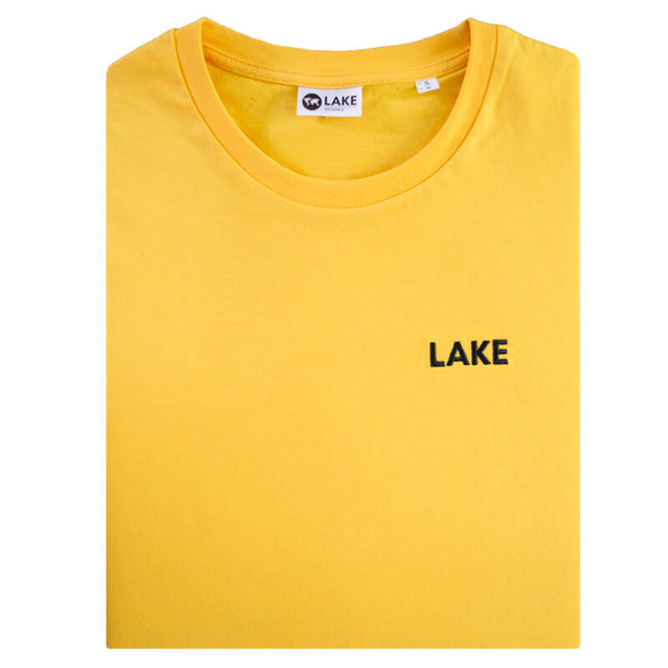 LFF lake fair wear fair trade t-shirt met geel lake logo geborduurd